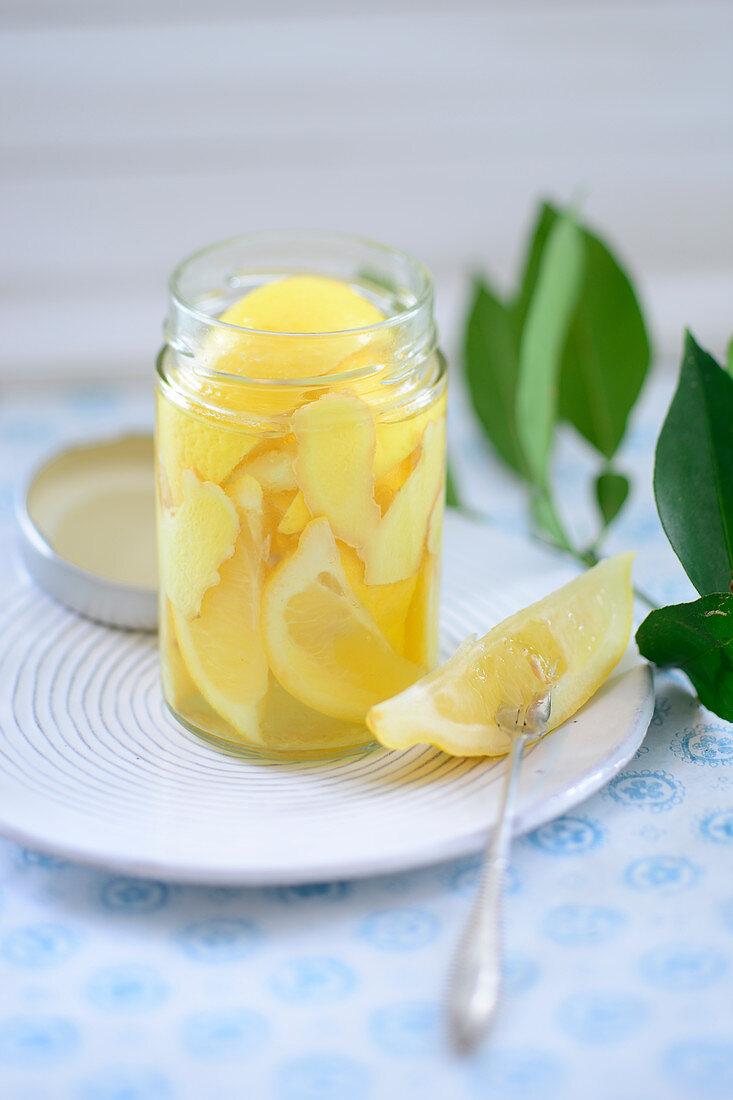 Jar of confit citrus