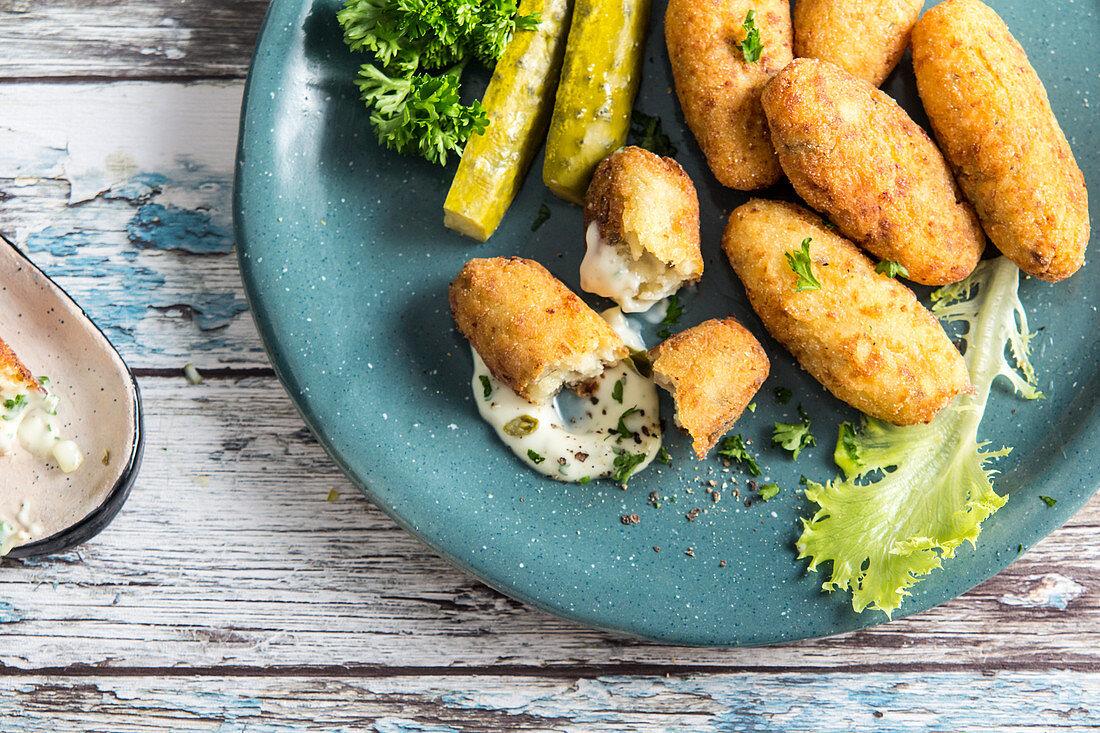 Potato croquette with pickles