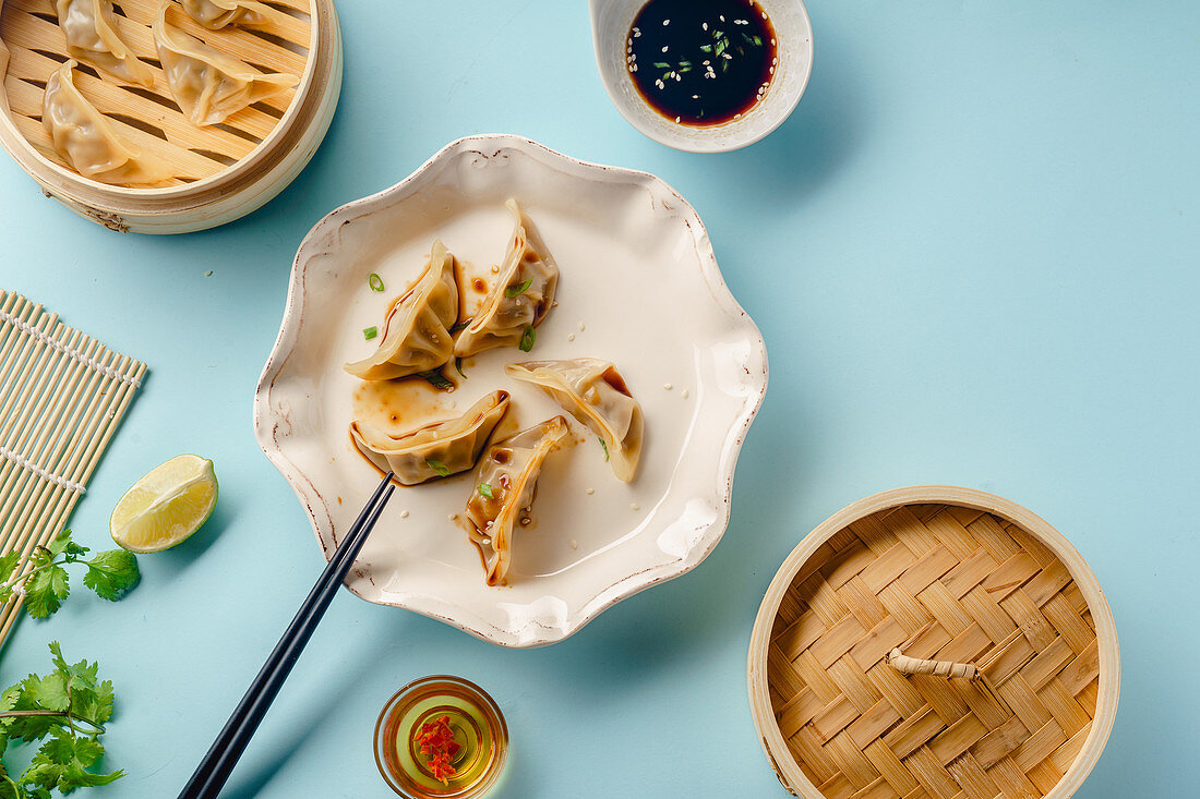 Fried Gyoza dumplings with duck cooked in bamboo steamer served with soy sauce, sesame seeds and cilantro