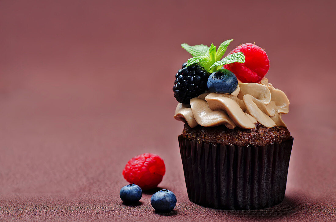 Chocolate cupcakes with chocolate abd cream cheese frosting