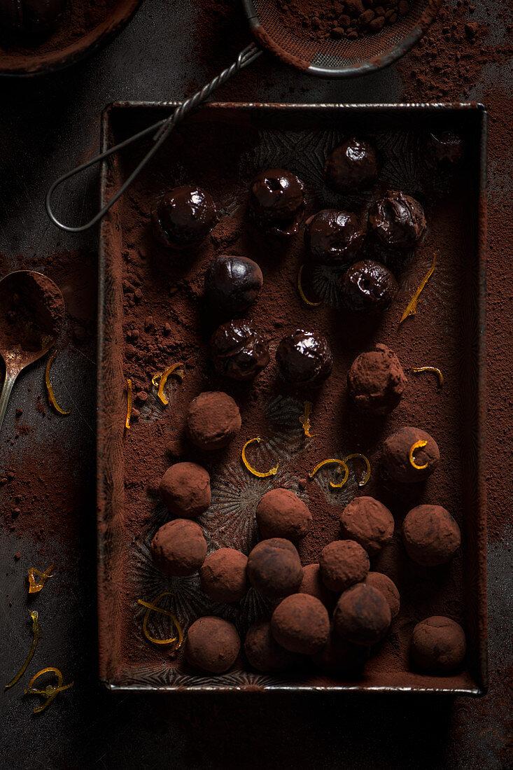 Chocolate and orange truffles in making
