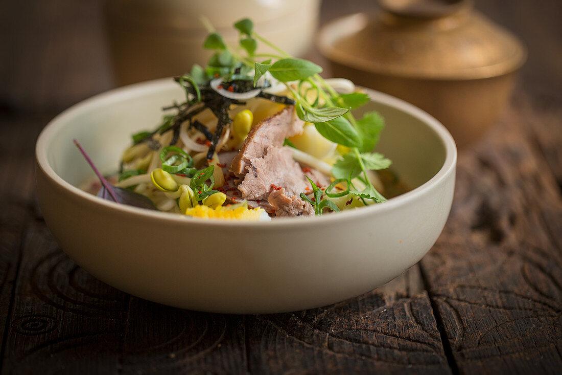 Ramen with Chashu pork, leek and eggs (Japan)
