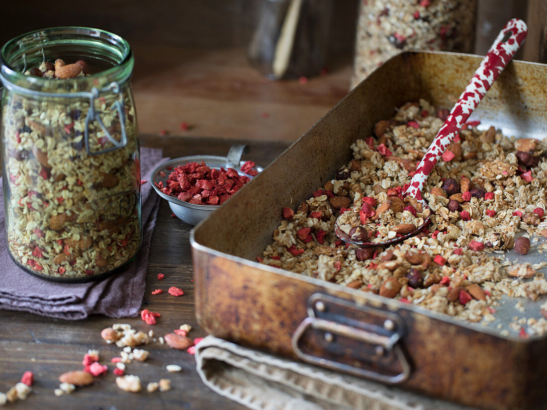 Home made granola with freeze dried strawberries