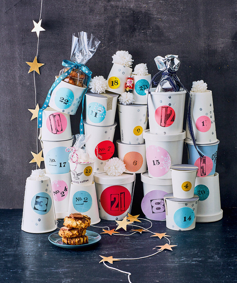 A homemade advent calendar filled with cookies