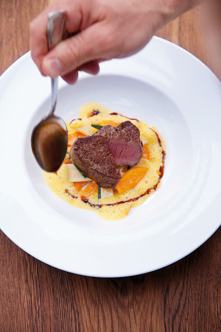 Beef fillets with hokkaido squash, parsley roots and teriyaki sauce
