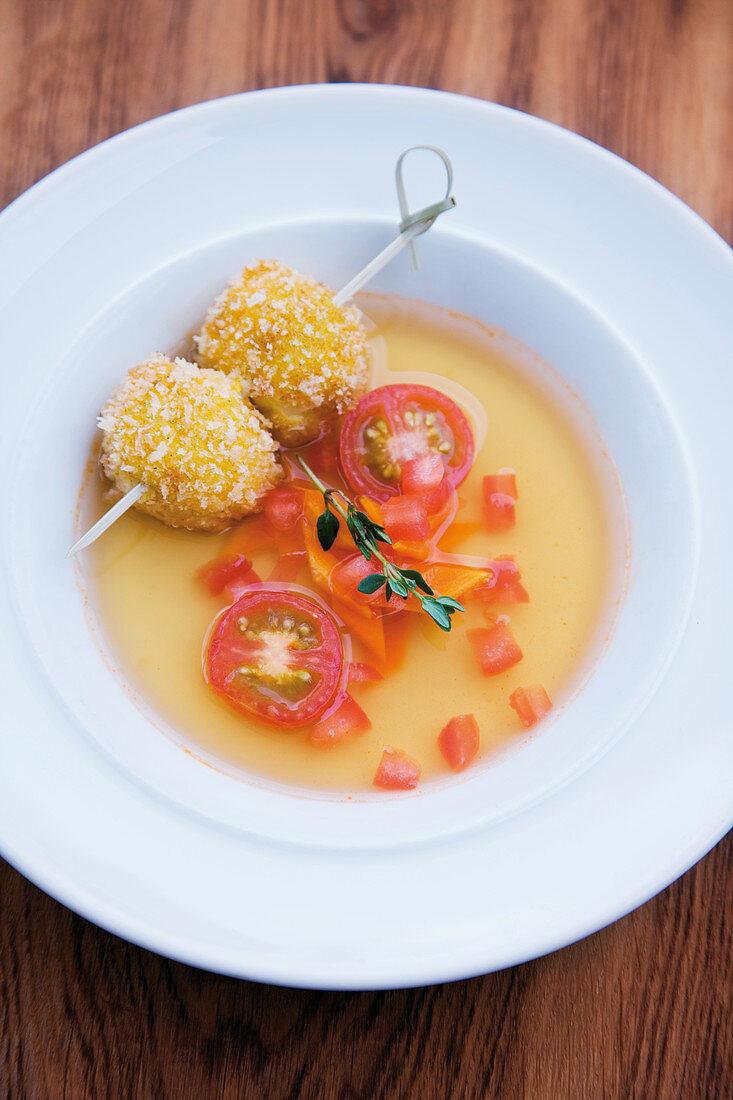 Tomato soup with baked buffalo mozzarella