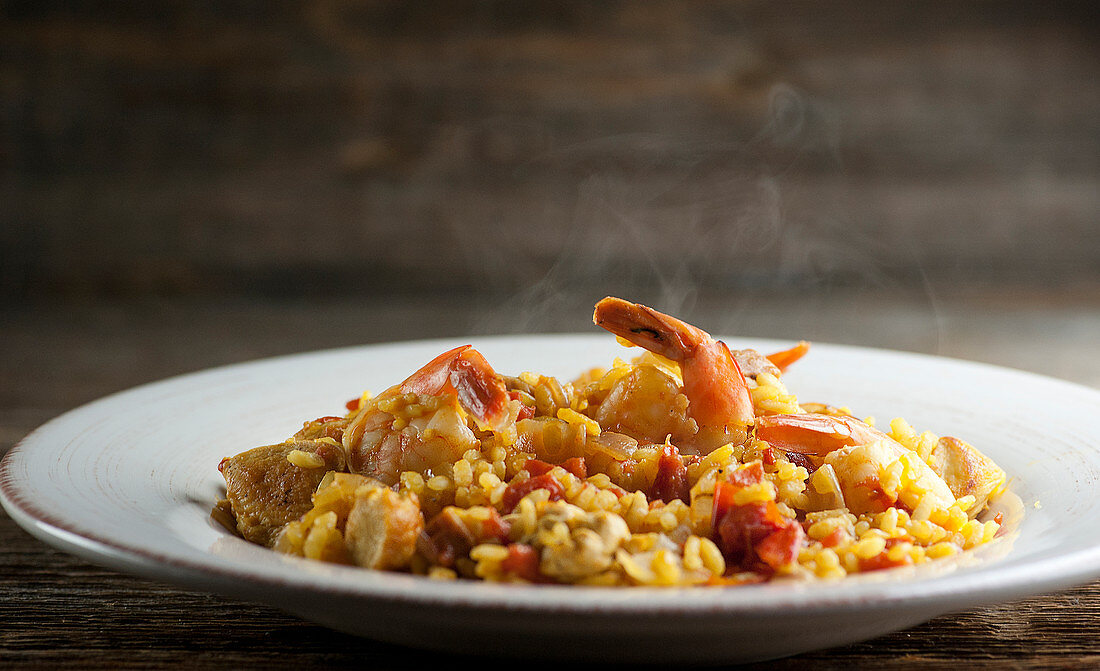 Steaming paella on a plate