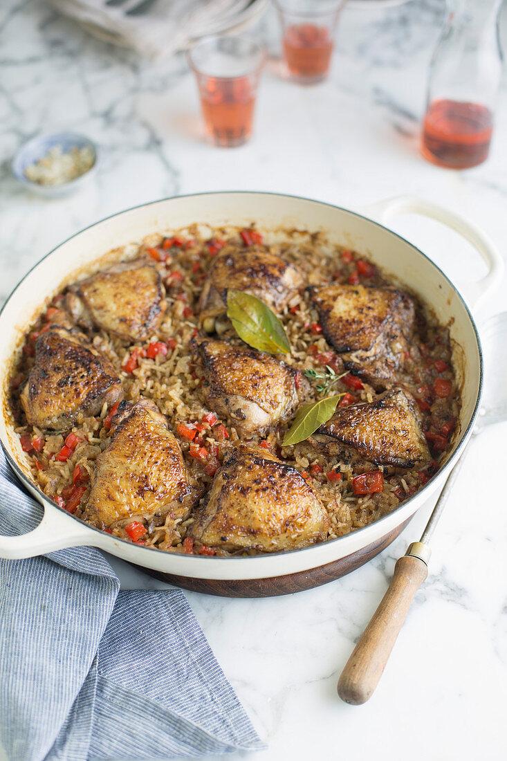 Jerk chicken with rice (Jamaica)