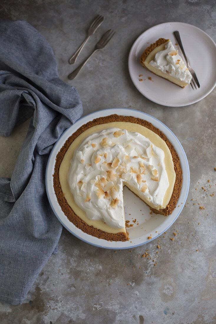 Lemon cream pie, sliced (top view)
