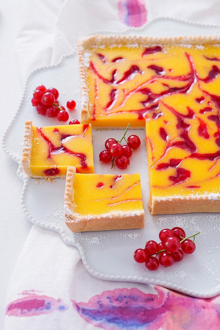 Lemon and redcurrant tart
