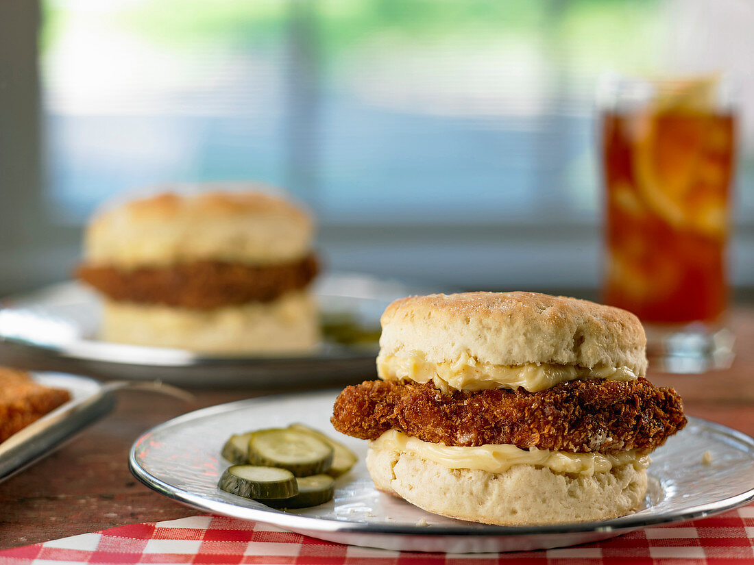 Fried Chicken Biscuits With Hot Honey Butter