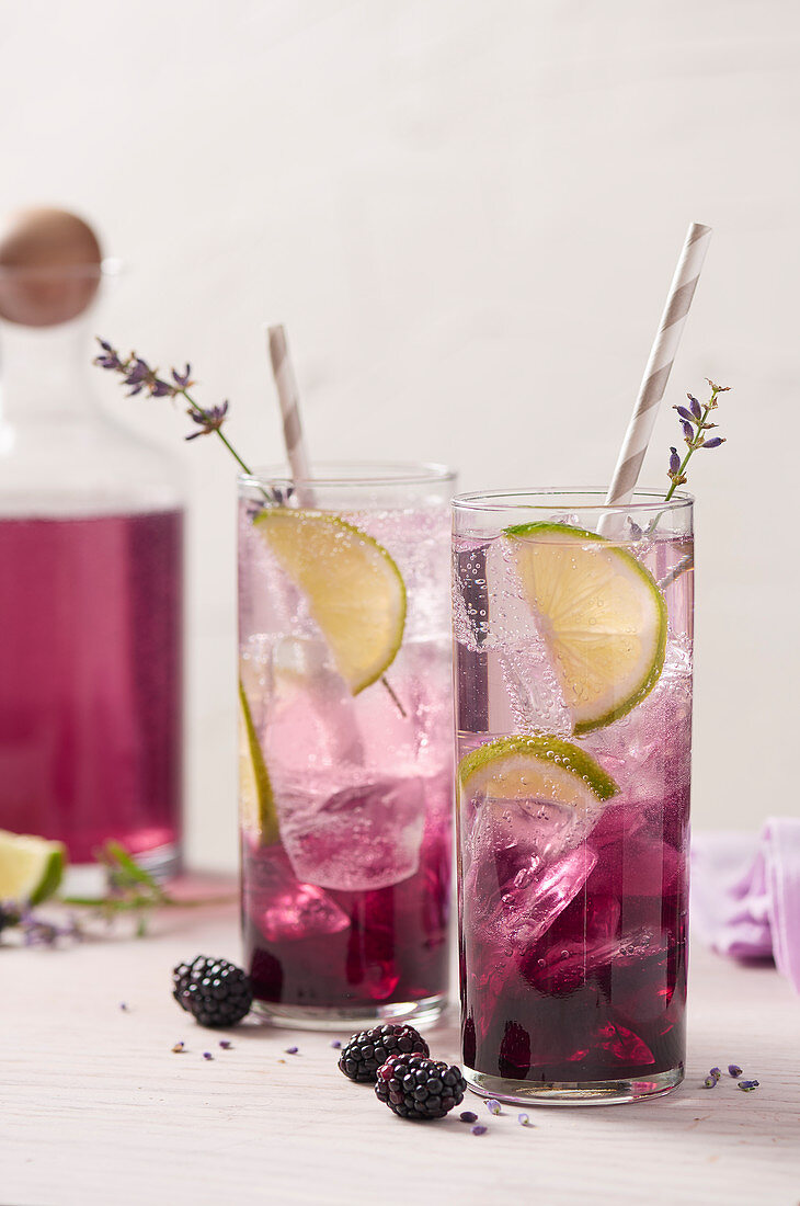Purple blackberry cocktails with ice, lime slices and lavender