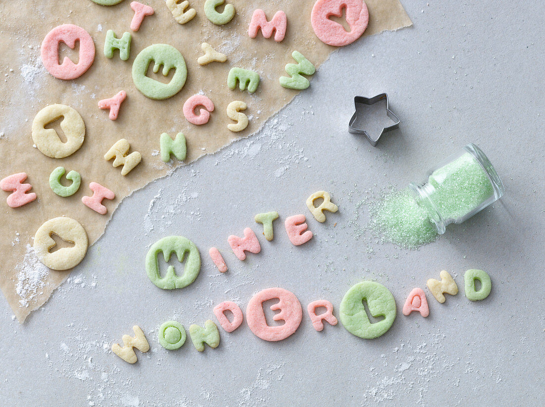 The words 'Winter Wonderland' cut out of colourful pastry