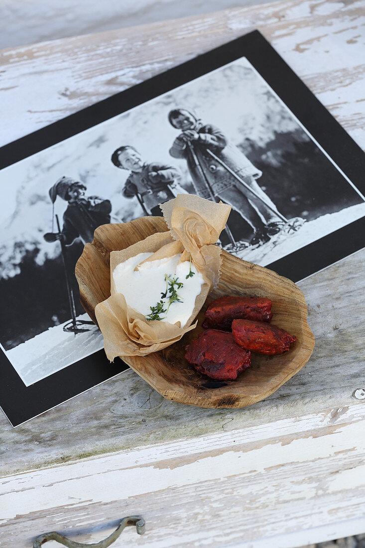Bavaria meets South Tyrol - beetroot dumplings with horseradish sauce