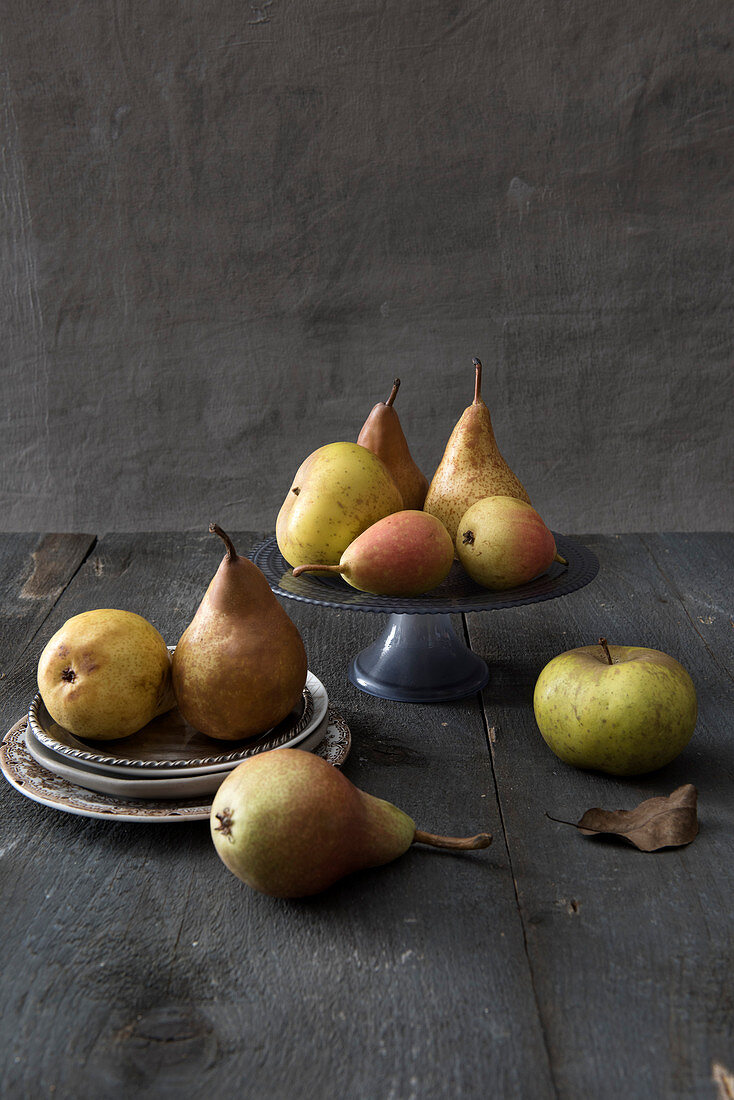 An autumnal arrangement of pears and apples