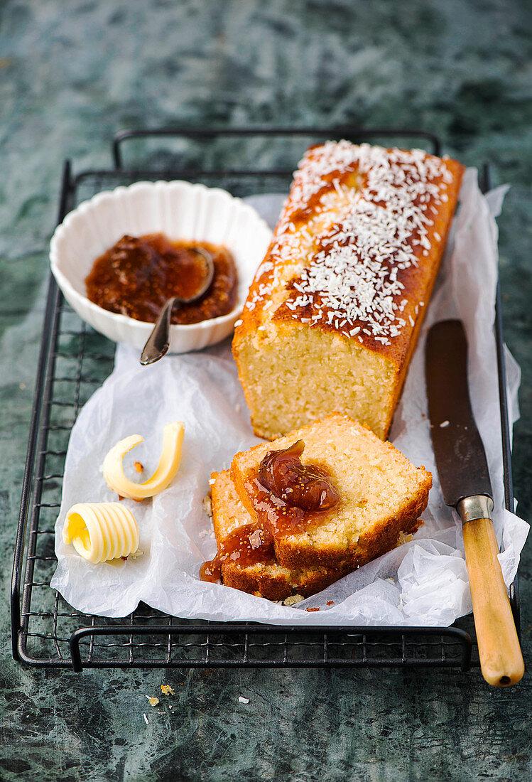 Coconut loaf cake with fig jam