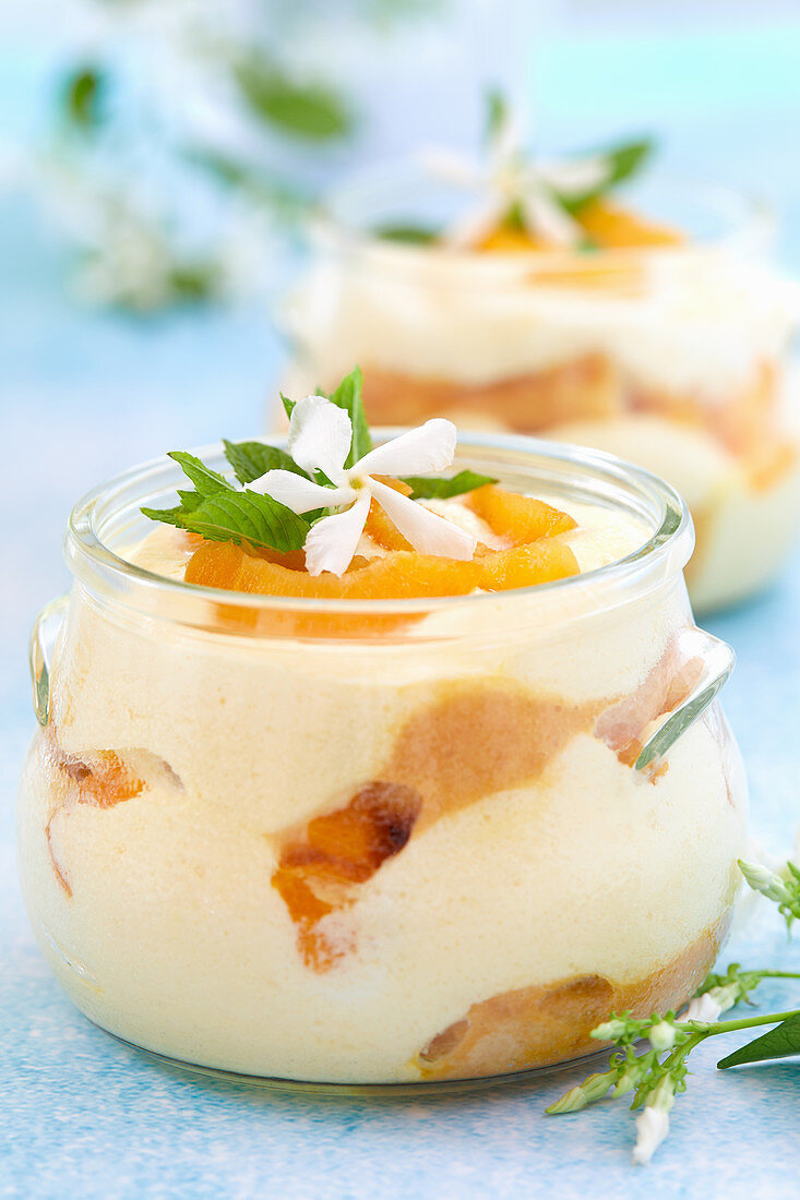 Closeup of bowls with apricot tiramisu on a table in pastel colors with jasmine flowers