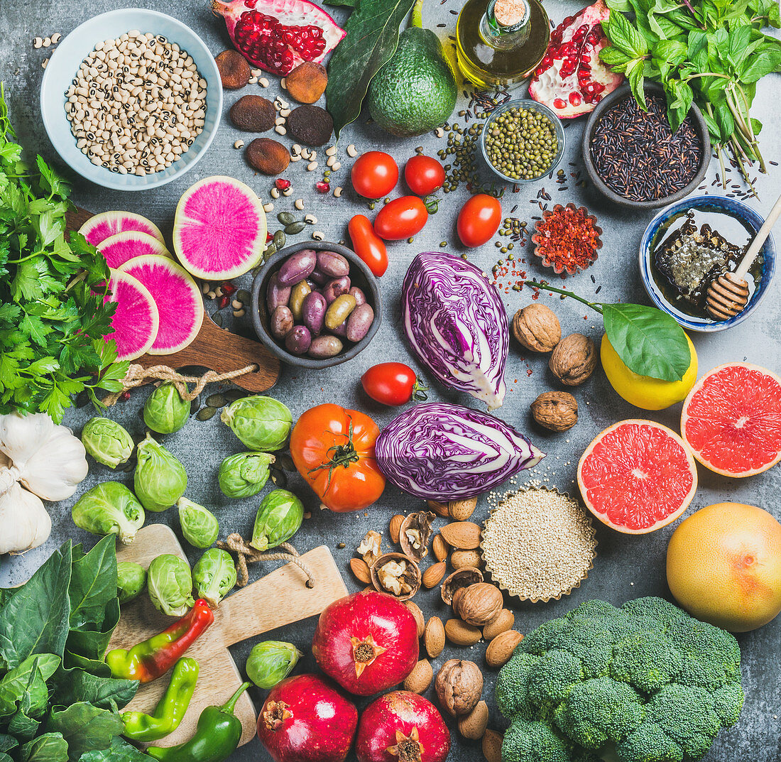 Vegetables, fruit, seeds, cereal, beans, spices, superfoods, herbs for vegan, raw diet