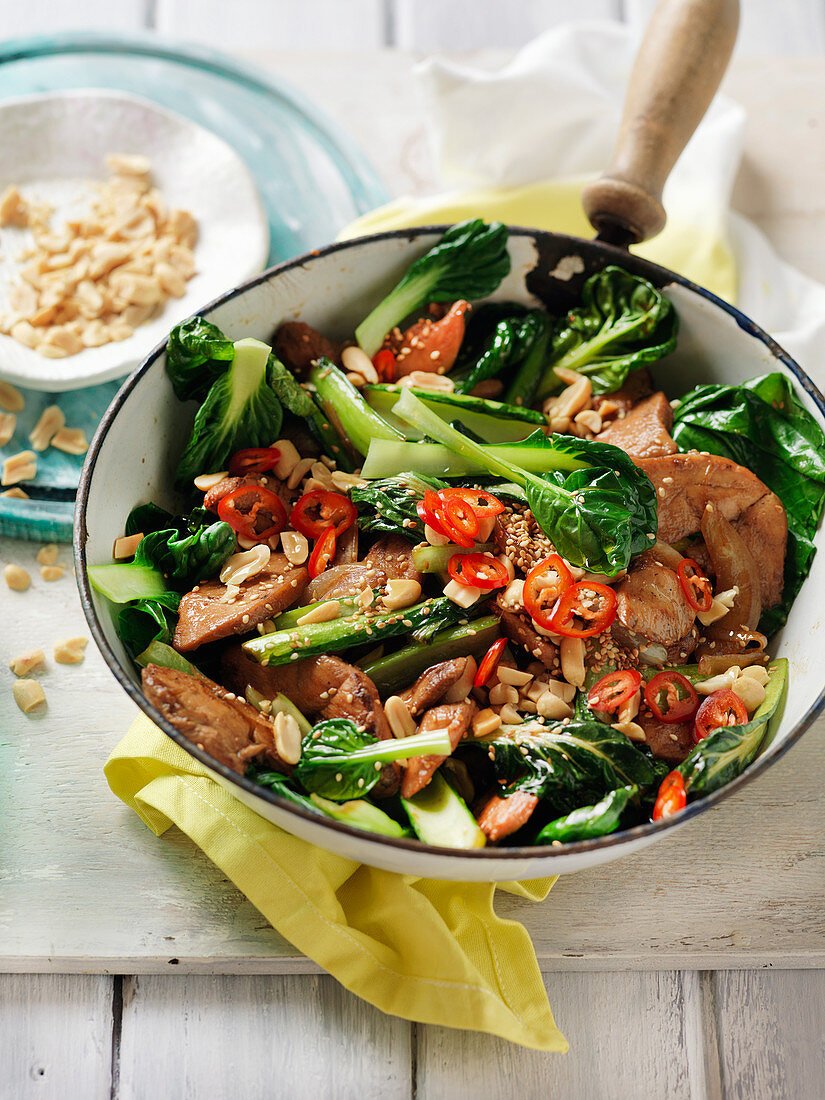 Honey soy chicken and greens