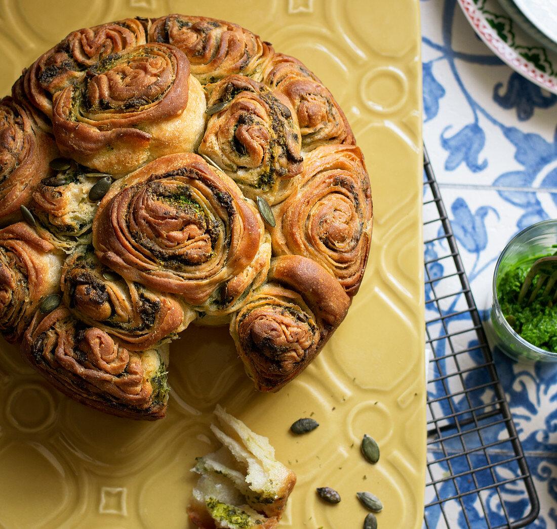 Garlic pesto kubaneh Yemenite bread