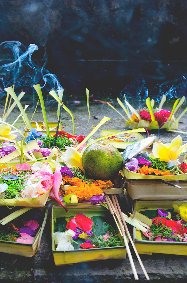 Hindu food offerings at a temple in Bali, Indonesia