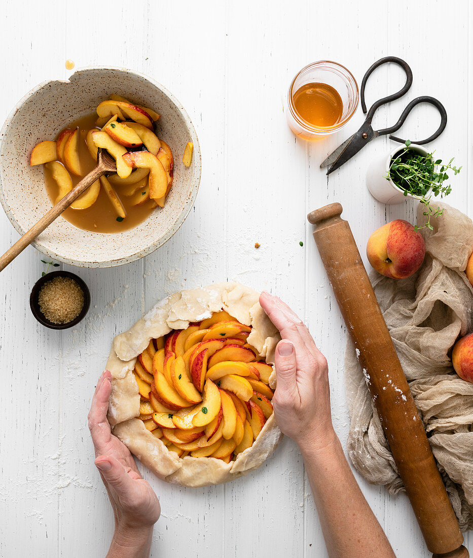 Peach Galette made with fresh yellow peaches, honey, and lemon thyme