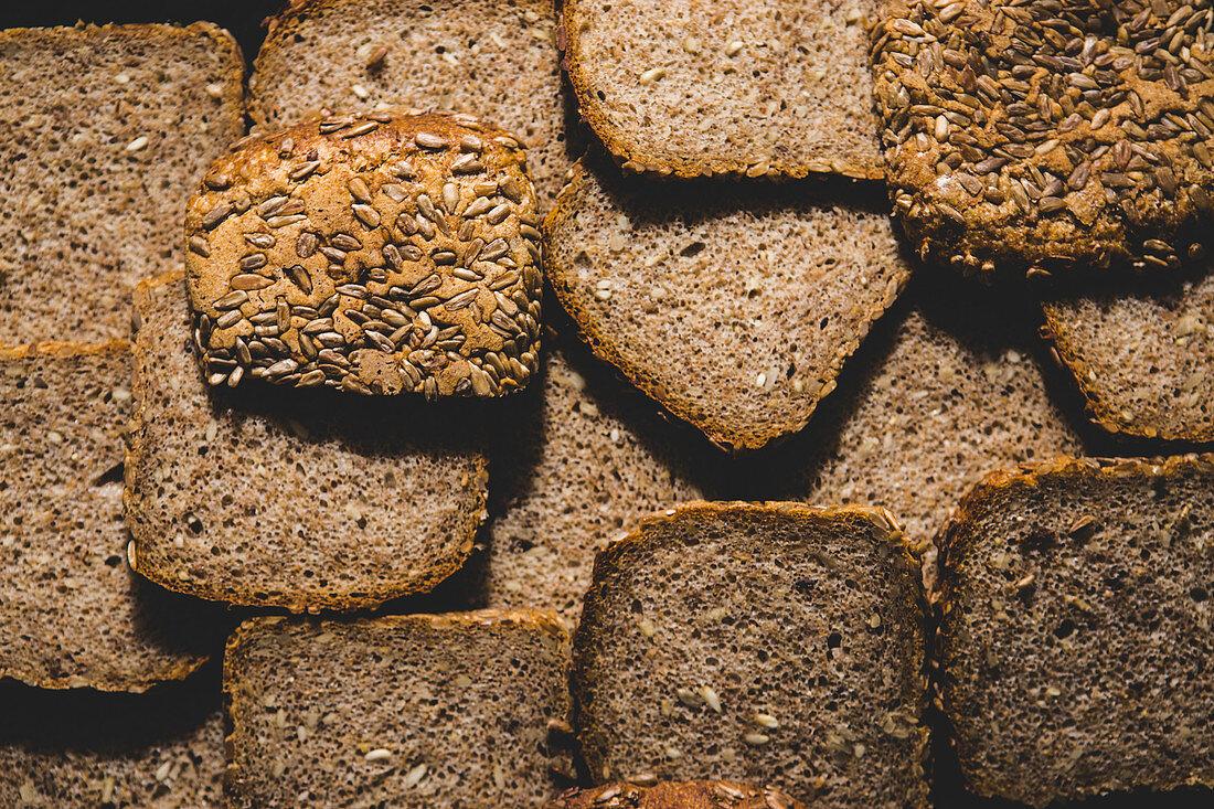 Slices of wholemeal bread (full frame)