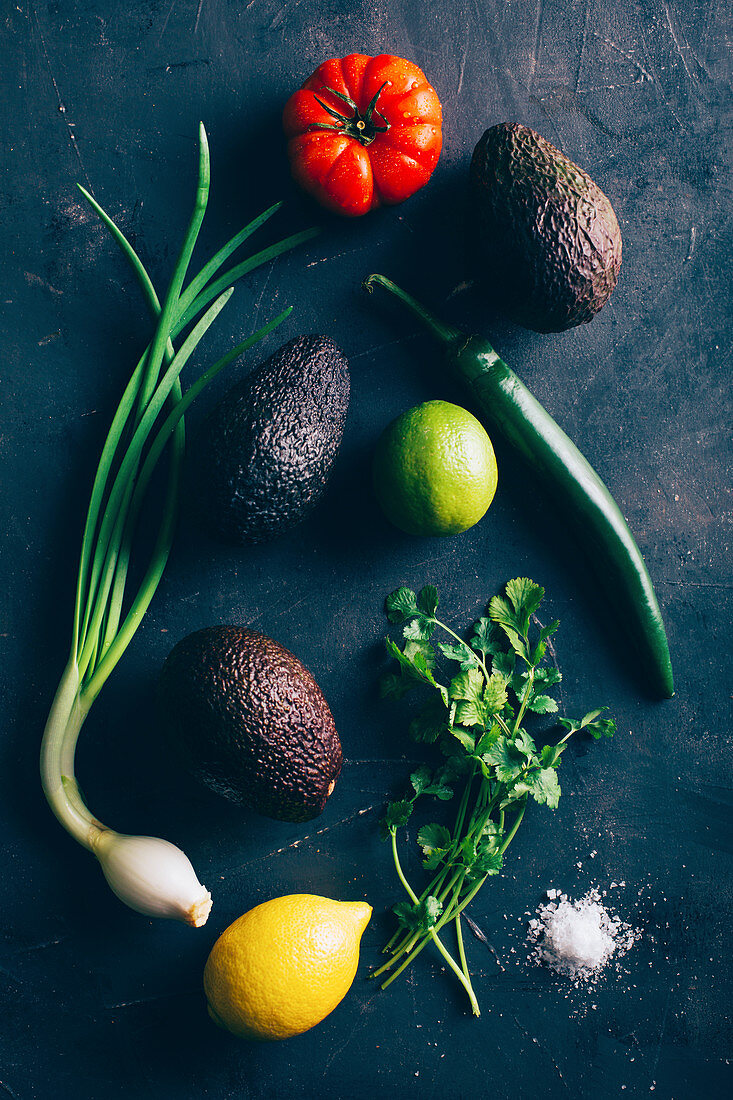 Still life with guacamole ingredients
