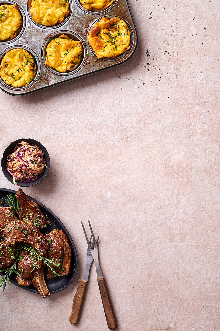 Lamb chops with minty coleslaw and mini quiches