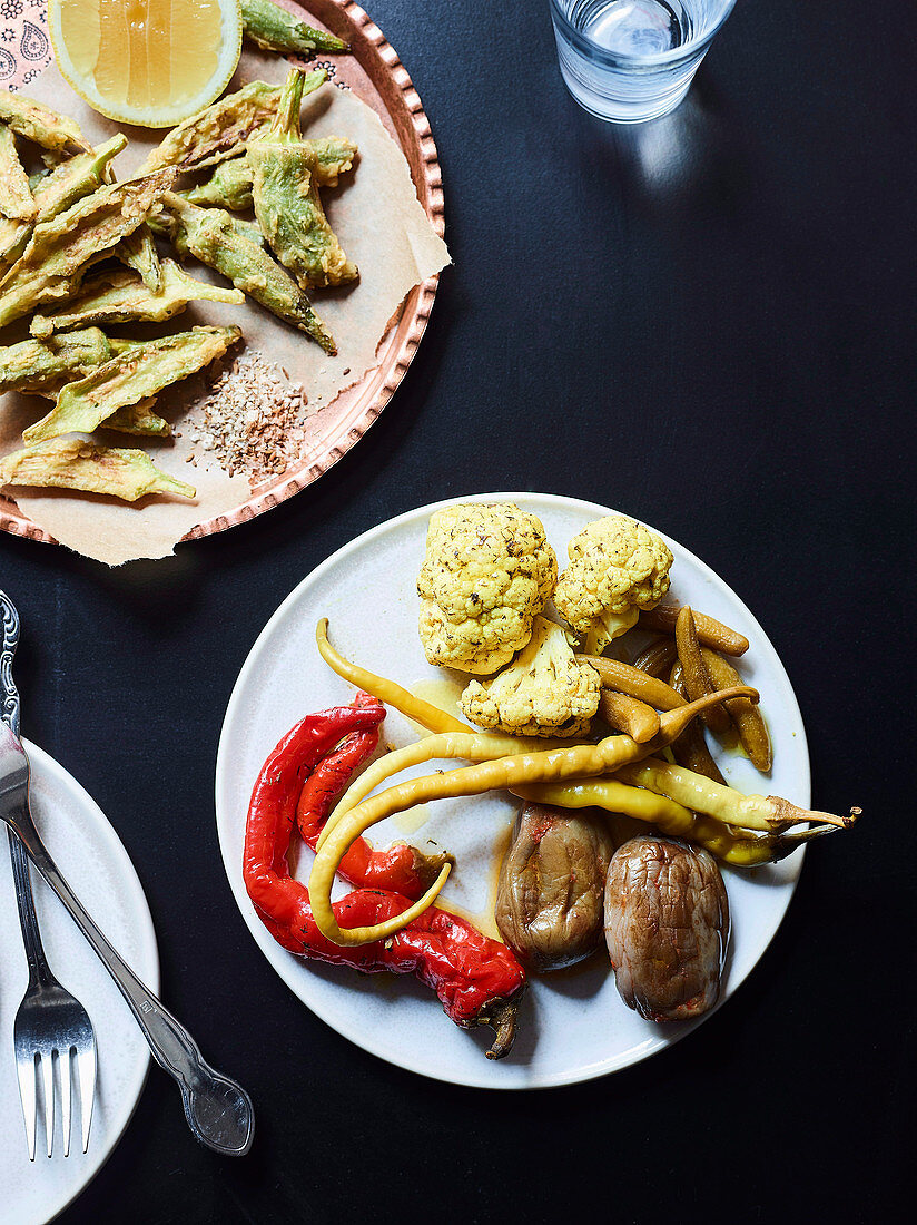 Torshi and makdous - pickled vegetables, eggplant, cauliflower and fried okra