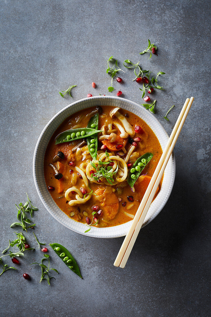 Thai coconut noodle soup