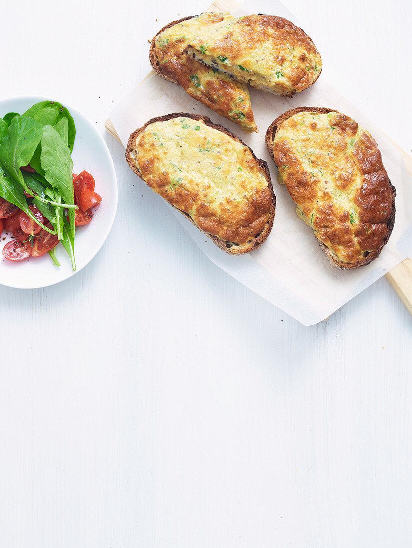 Welsh Rarebit Souffle Toasts