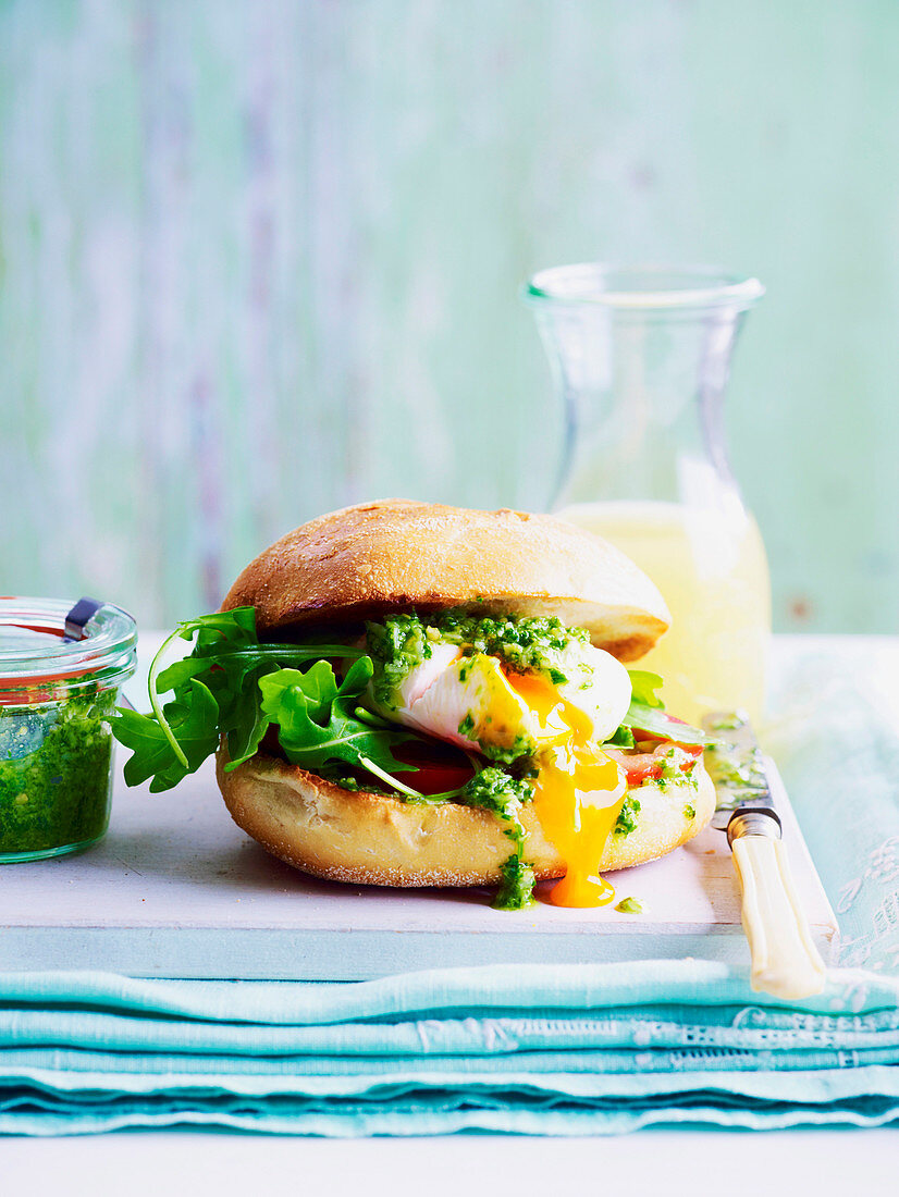 Poached Eggs in a Roll with Pesto