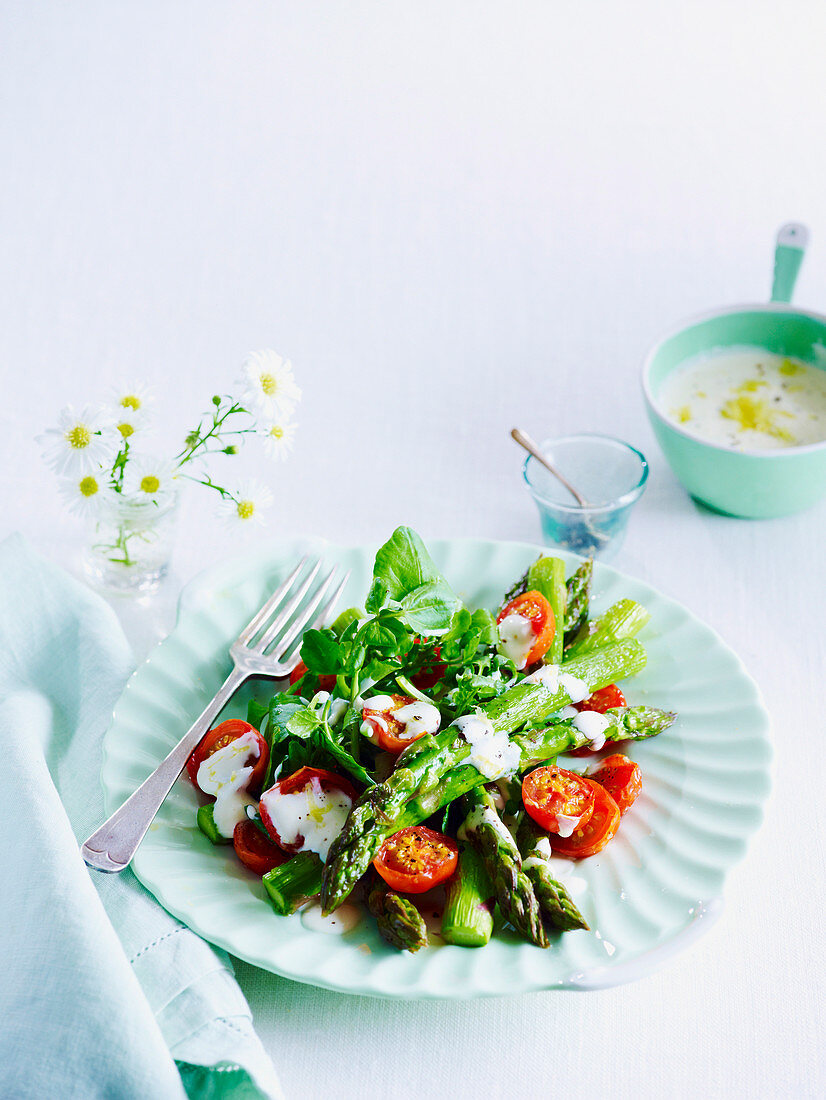 Roasted Asparagus and Tomatoes with Lemon Dressing
