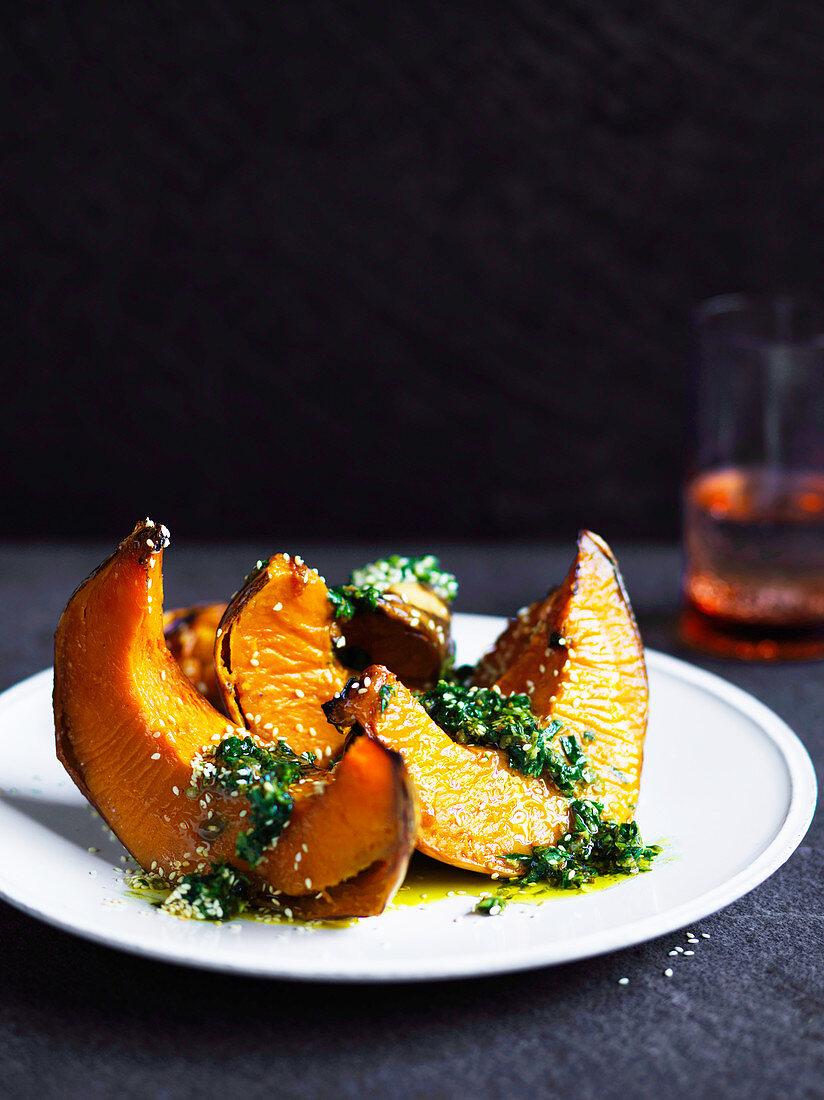 Roasted pumpkin with zhoug (hot green sauce)