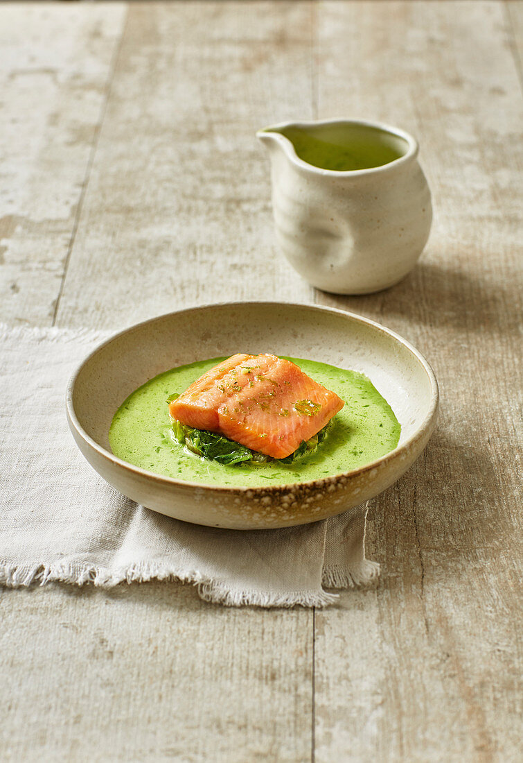 Lettuce soup with ginger and brook trout