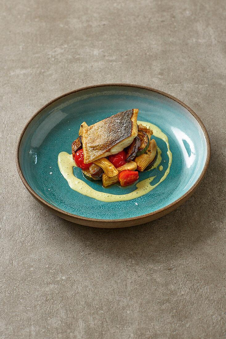 Bass on Mediterranean vegetables