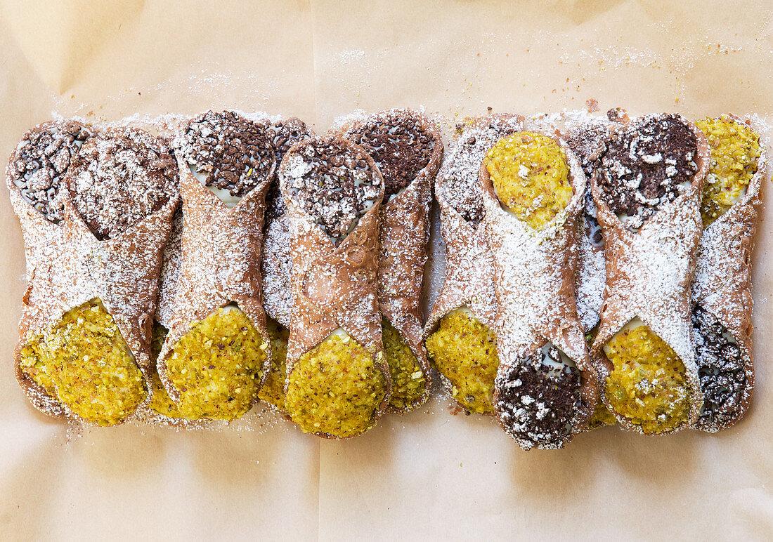 Italian Cannoli (deep fried pastry rolls (Sicily, Italy)