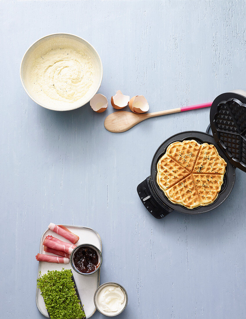 Ingredients for waffle with black caraway seeds