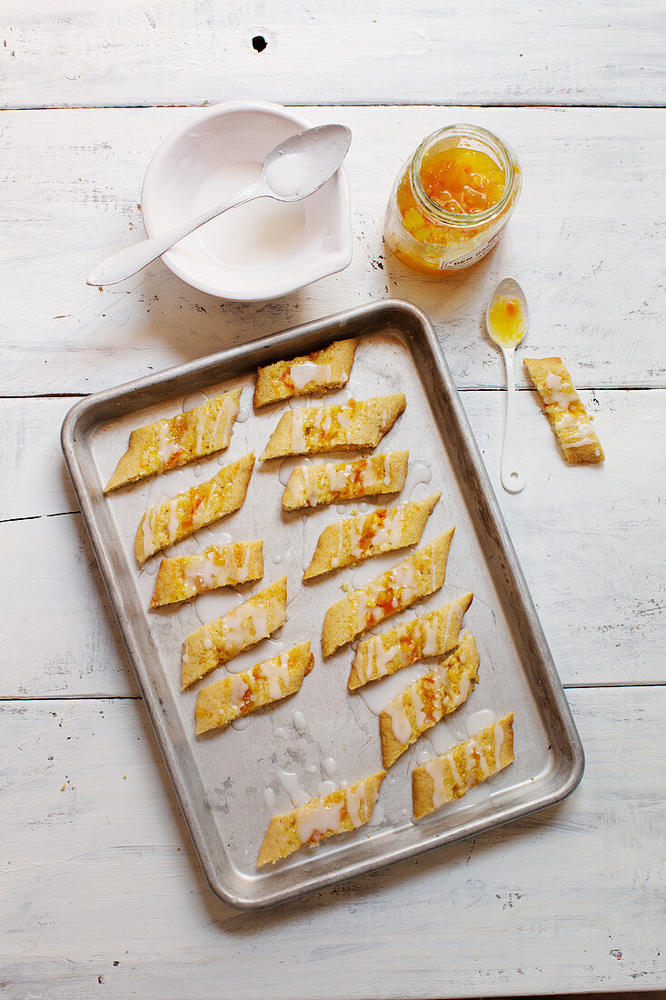 Nordic orange gingerbread on a baking tray
