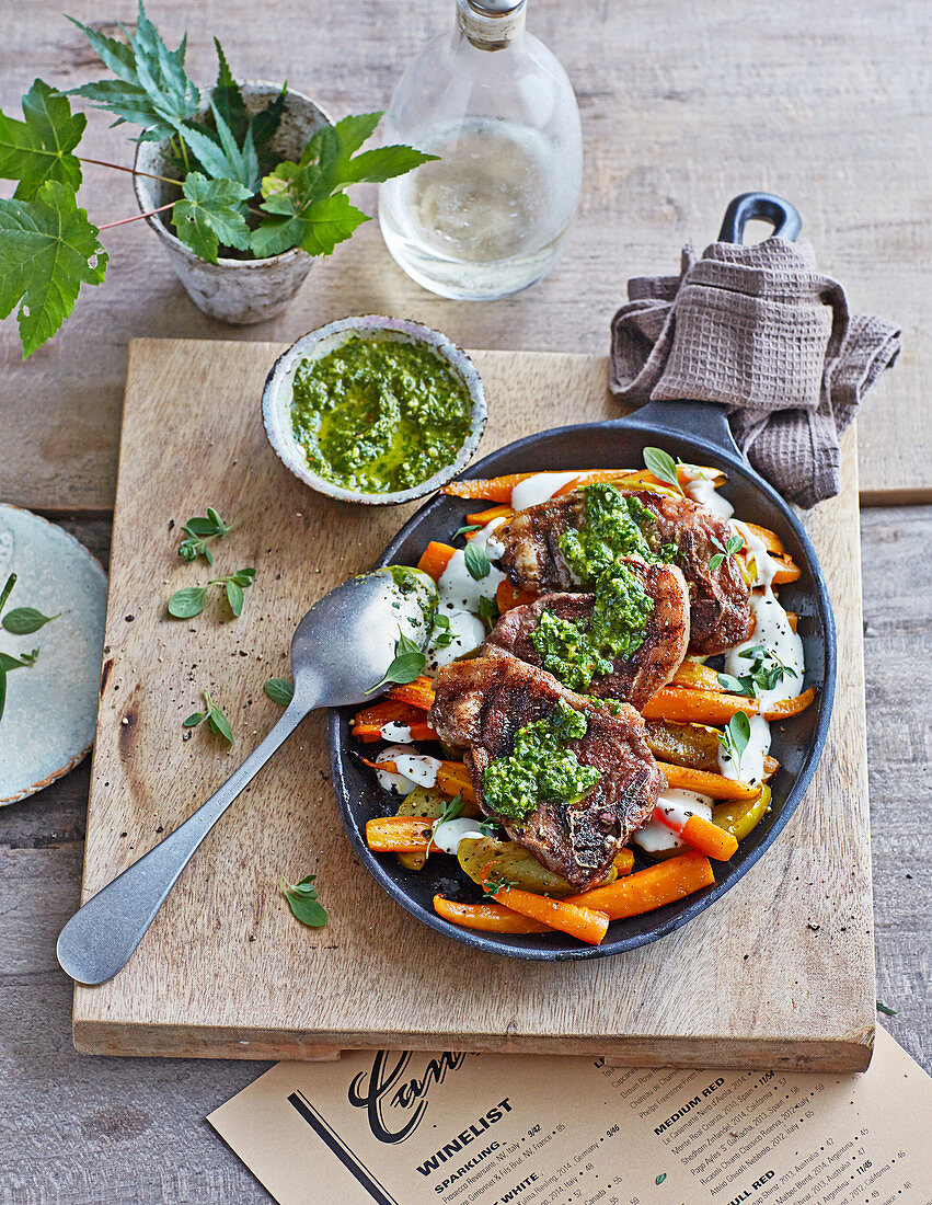 Grilled lamb chops with chimichurri and roasted carrots