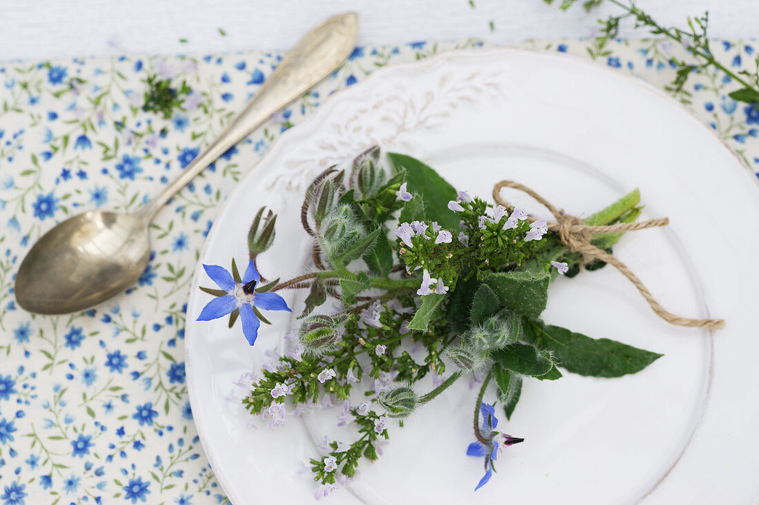 Posy of calamint and borage on plate