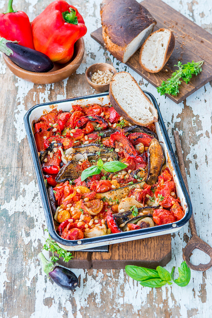 Vegetables roasted with pine nuts