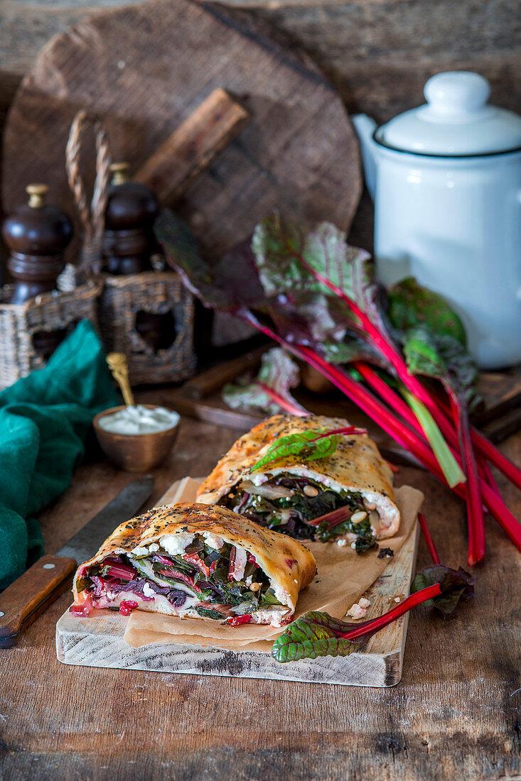 Yeast strudel with swiss chard and cheese
