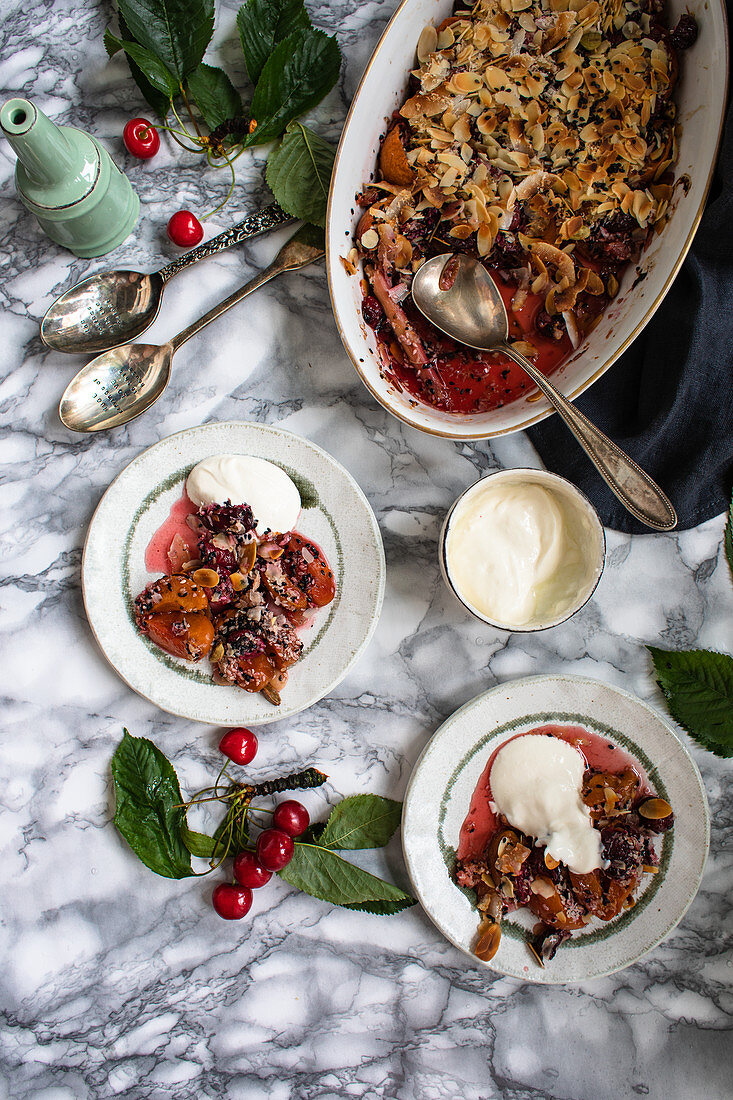 Cherry and apricot crumble with nuts