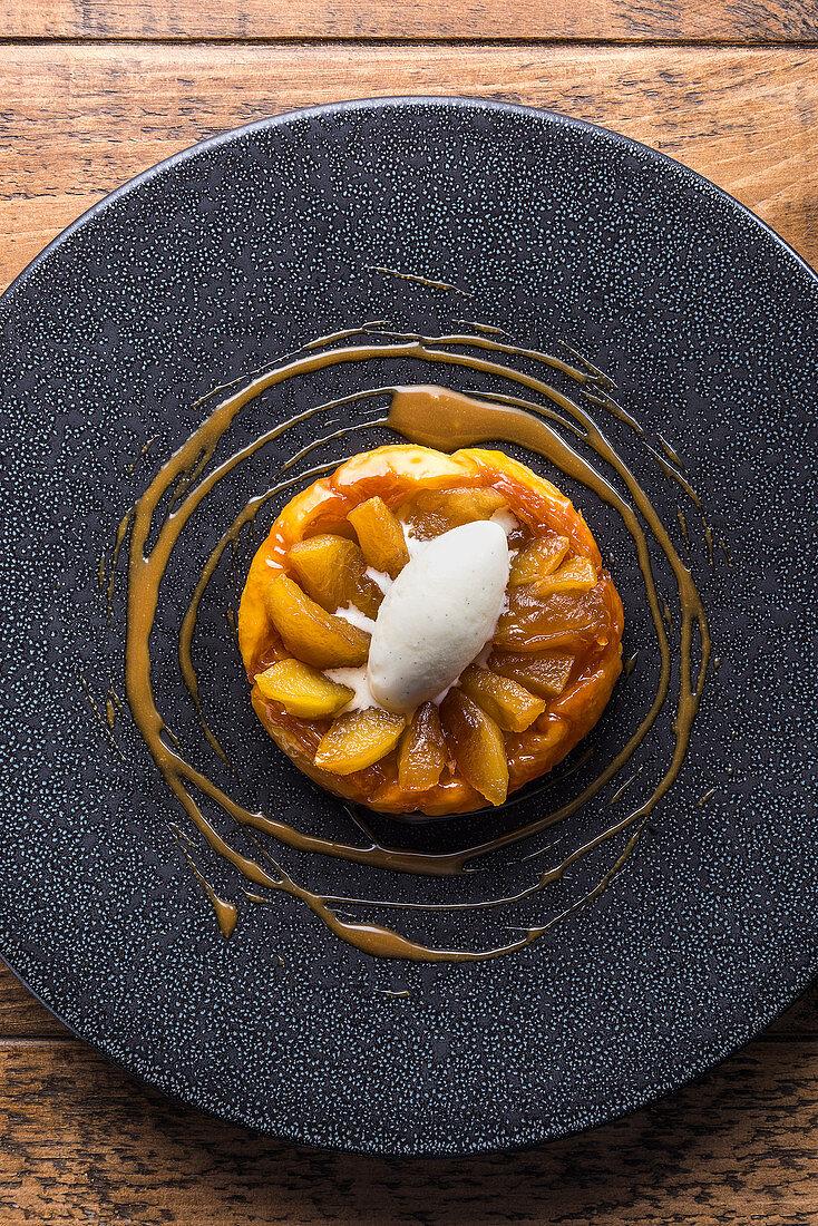 Apple tarte tatin with vanilla ice cream