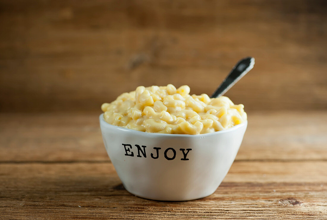 Macaroni and cheese in a small bowl