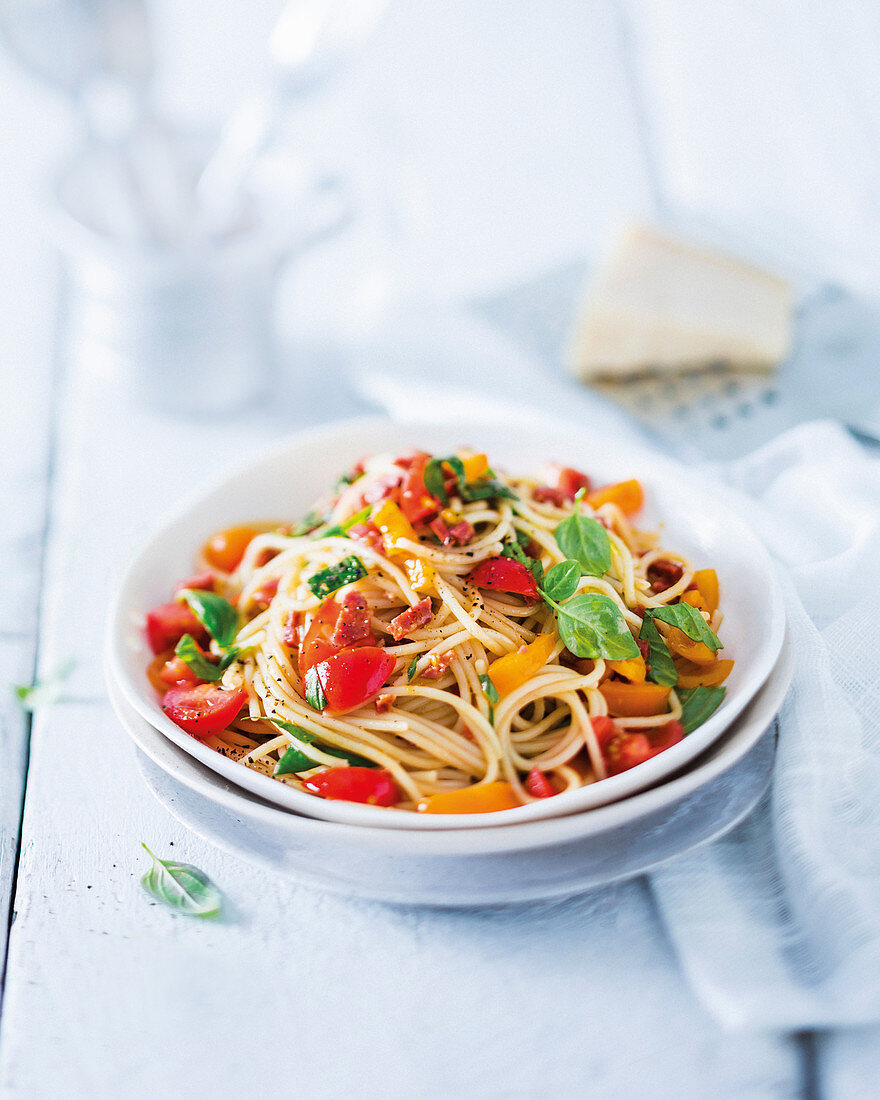 Spaghetti with chorizo crumbs and fresh tomato