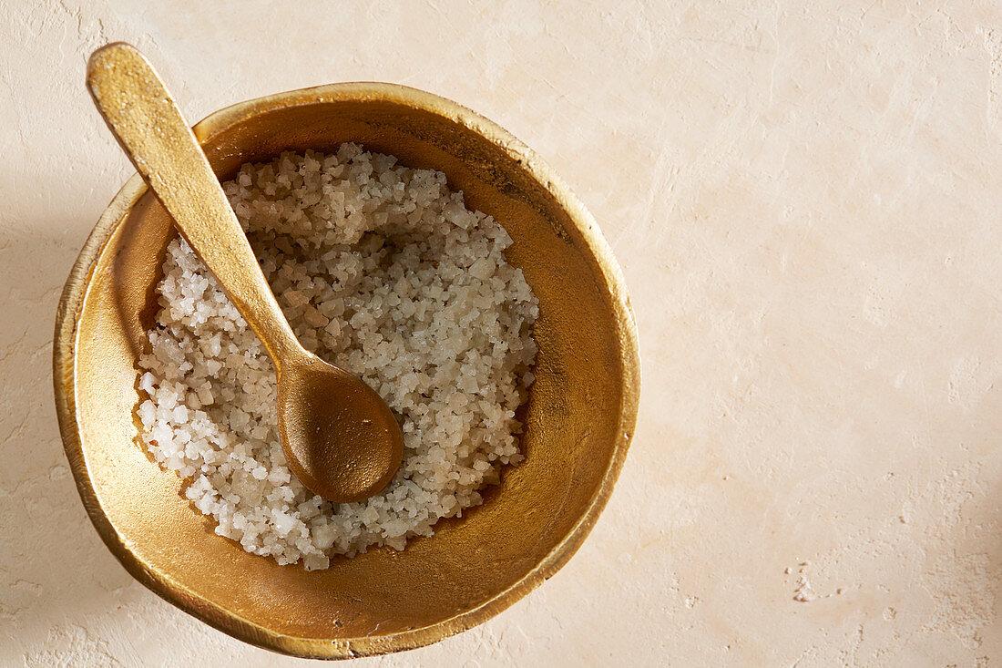 Celtic sea salt in gold dish