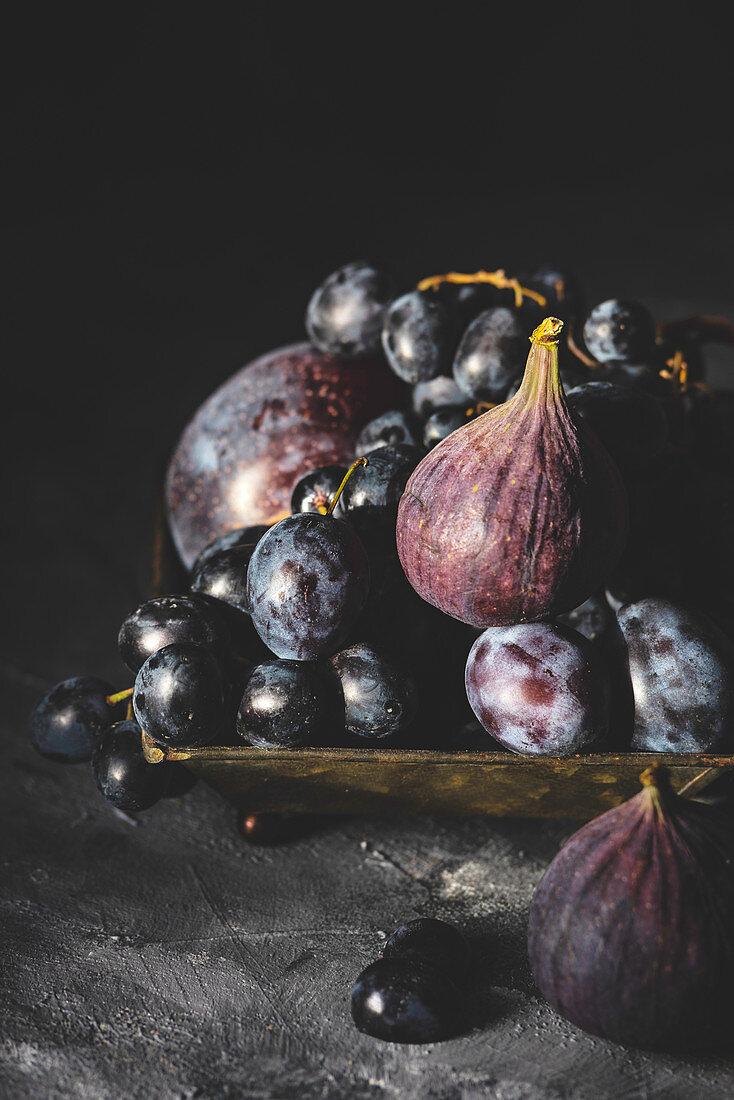 Dark mood violet fruits